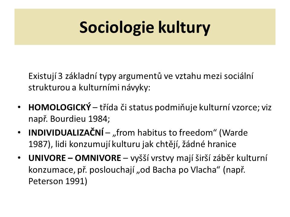 Sociologie kultury Existují 3 základní typy argumentů ve vztahu mezi sociální strukturou a kulturními návyky: HOMOLOGICKÝ – třída či status podmiňuje kulturní vzorce; viz např.