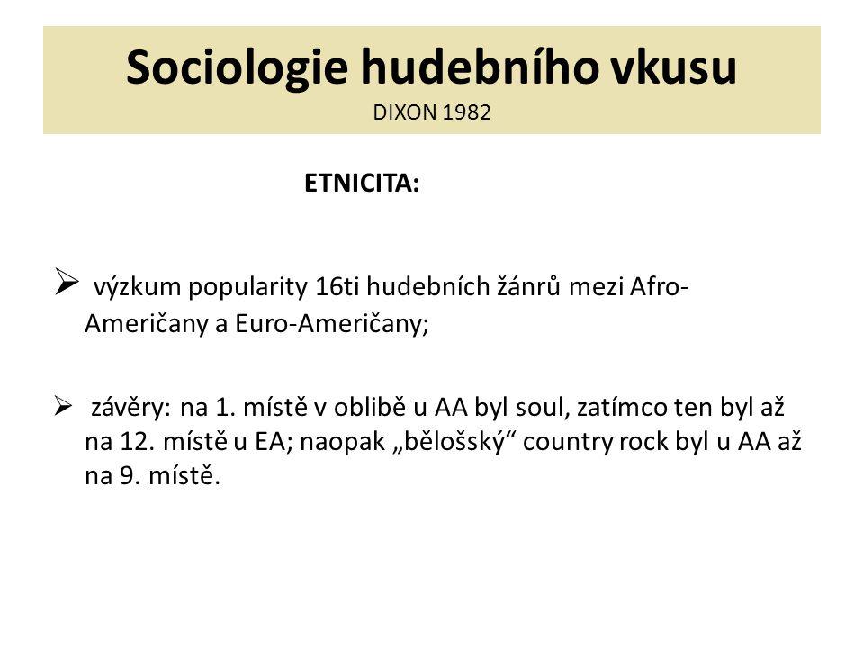 Sociologie hudebního vkusu DIXON 1982 ETNICITA:  výzkum popularity 16ti hudebních žánrů mezi Afro- Američany a Euro-Američany;  závěry: na 1.
