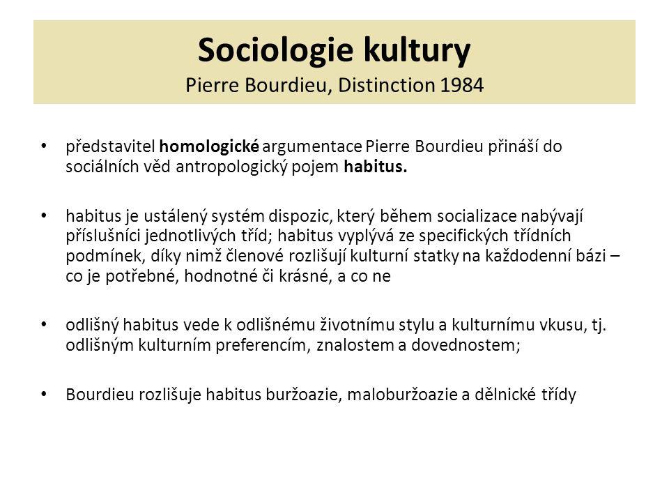 Sociologie kultury Pierre Bourdieu, Distinction 1984 představitel homologické argumentace Pierre Bourdieu přináší do sociálních věd antropologický pojem habitus.
