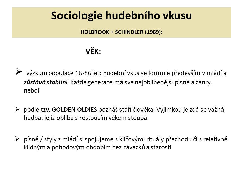 Sociologie hudebního vkusu HOLBROOK + SCHINDLER (1989): VĚK:  výzkum populace 16-86 let: hudební vkus se formuje především v mládí a zůstává stabilní.