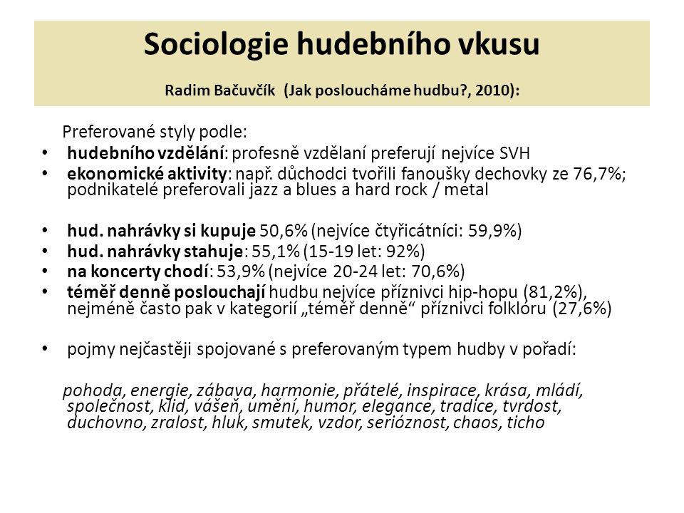 Sociologie hudebního vkusu Radim Bačuvčík (Jak posloucháme hudbu?, 2010): Preferované styly podle: hudebního vzdělání: profesně vzdělaní preferují nejvíce SVH ekonomické aktivity: např.