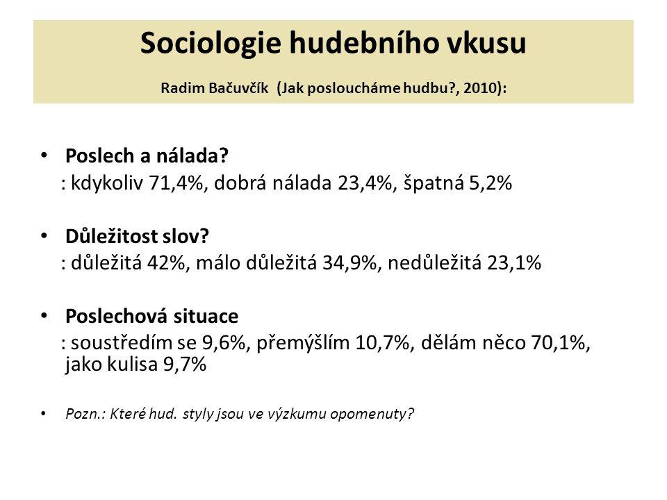 Sociologie hudebního vkusu Radim Bačuvčík (Jak posloucháme hudbu?, 2010): Poslech a nálada.