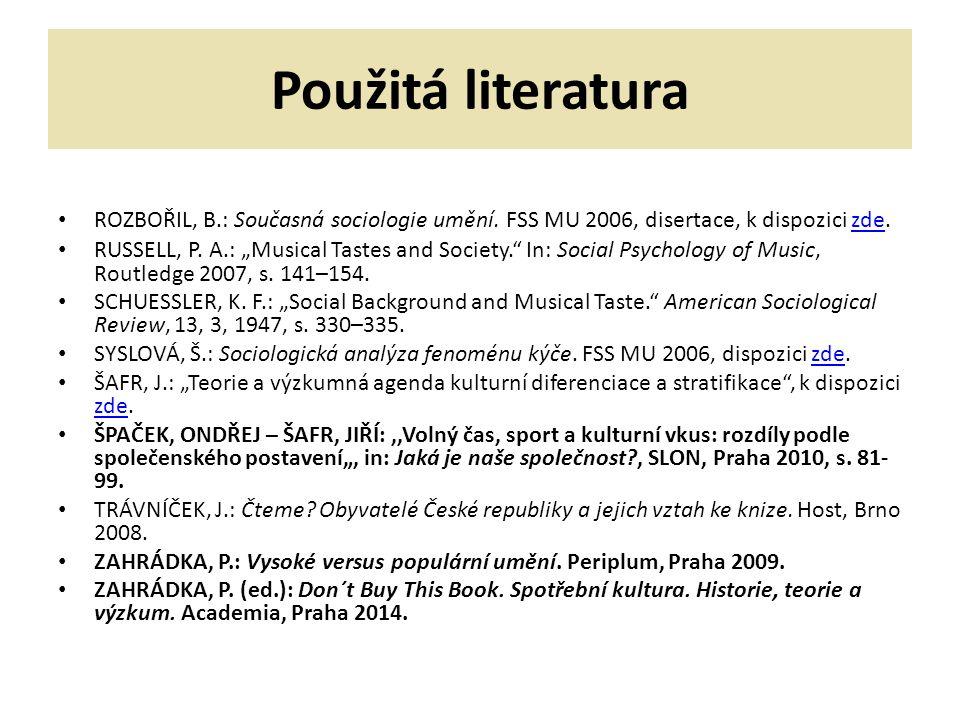 Použitá literatura ROZBOŘIL, B.: Současná sociologie umění.