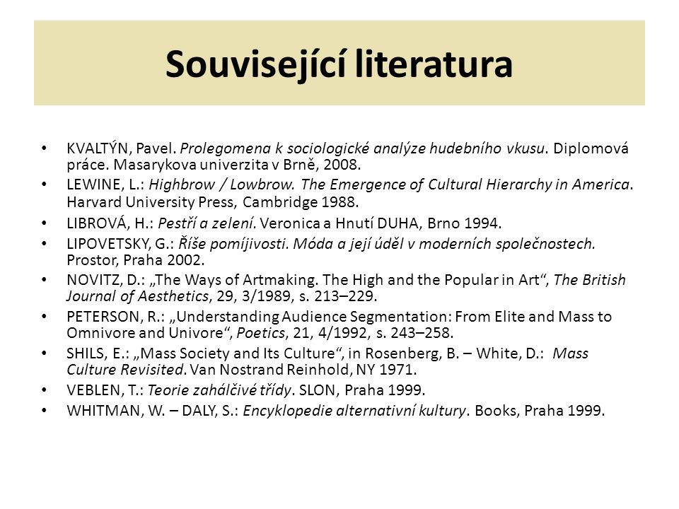 Související literatura KVALTÝN, Pavel.Prolegomena k sociologické analýze hudebního vkusu.
