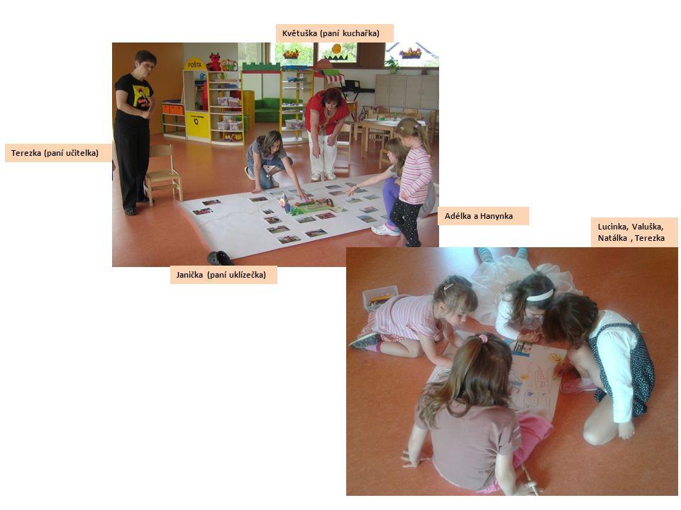 Terezka (paní učitelka) Janička (paní uklízečka) Květuška (paní kuchařka) Adélka a Hanynka Lucinka, Valuška, Natálka, Terezka