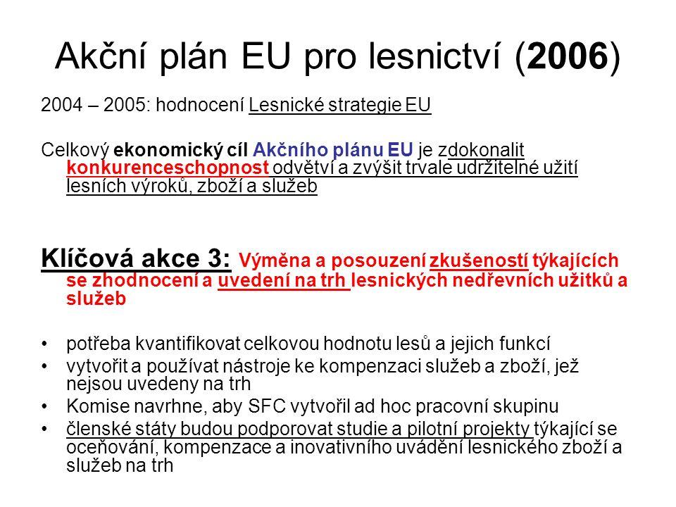 Akční plán EU pro lesnictví (2006) 2004 – 2005: hodnocení Lesnické strategie EU Celkový ekonomický cíl Akčního plánu EU je zdokonalit konkurenceschopnost odvětví a zvýšit trvale udržitelné užití lesních výroků, zboží a služeb Klíčová akce 3: Výměna a posouzení zkušeností týkajících se zhodnocení a uvedení na trh lesnických nedřevních užitků a služeb potřeba kvantifikovat celkovou hodnotu lesů a jejich funkcí vytvořit a používat nástroje ke kompenzaci služeb a zboží, jež nejsou uvedeny na trh Komise navrhne, aby SFC vytvořil ad hoc pracovní skupinu členské státy budou podporovat studie a pilotní projekty týkající se oceňování, kompenzace a inovativního uvádění lesnického zboží a služeb na trh