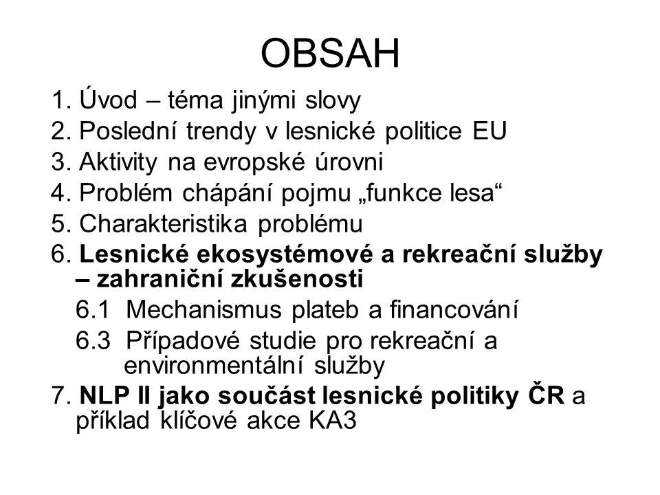 """OBSAH 1. Úvod – téma jinými slovy 2. Poslední trendy v lesnické politice EU 3. Aktivity na evropské úrovni 4. Problém chápání pojmu """"funkce lesa"""" 5. C"""