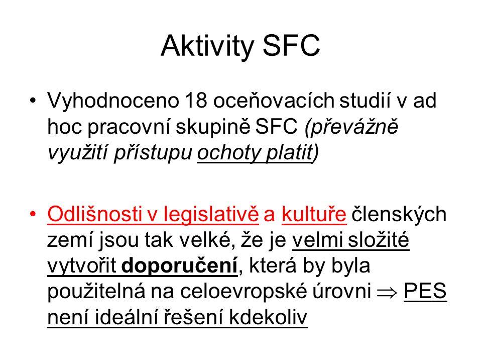Aktivity SFC Vyhodnoceno 18 oceňovacích studií v ad hoc pracovní skupině SFC (převážně využití přístupu ochoty platit) Odlišnosti v legislativě a kult