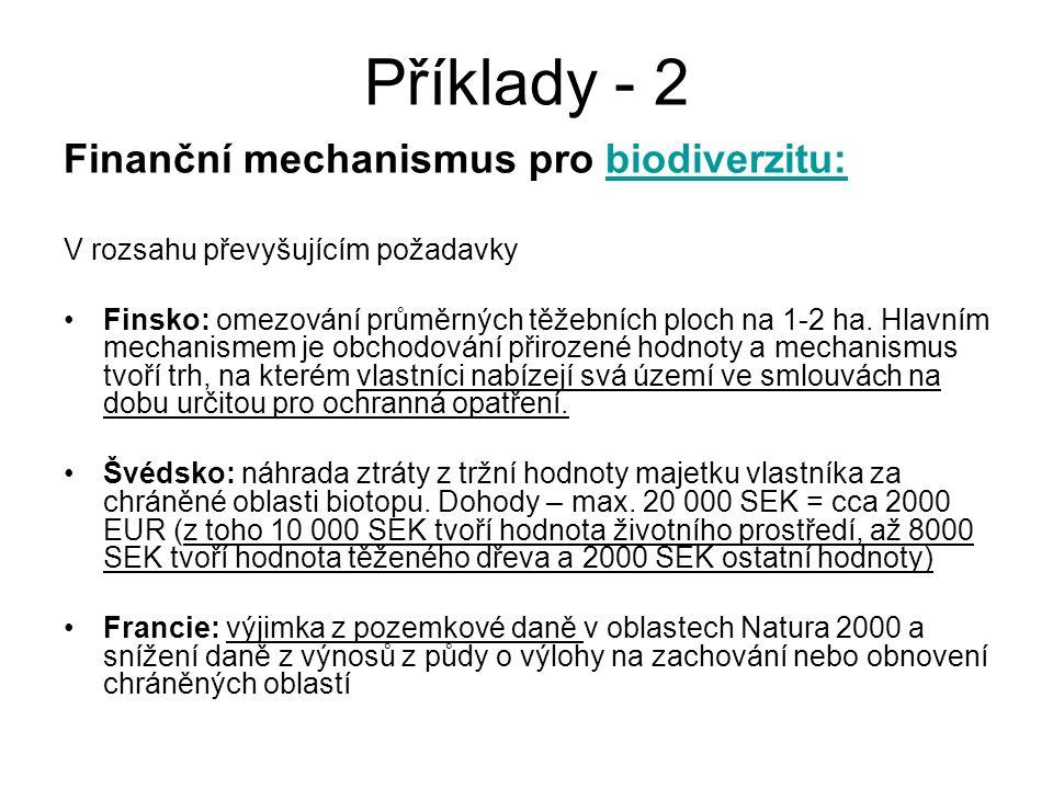 Příklady - 2 Finanční mechanismus pro biodiverzitu: V rozsahu převyšujícím požadavky Finsko: omezování průměrných těžebních ploch na 1-2 ha. Hlavním m