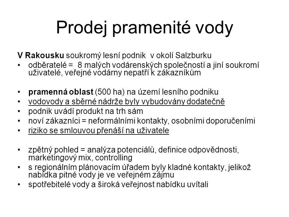 Prodej pramenité vody V Rakousku soukromý lesní podnik v okolí Salzburku odběratelé = 8 malých vodárenských společností a jiní soukromí uživatelé, veřejné vodárny nepatří k zákazníkům pramenná oblast (500 ha) na území lesního podniku vodovody a sběrné nádrže byly vybudovány dodatečně podnik uvádí produkt na trh sám noví zákazníci = neformálními kontakty, osobními doporučeními riziko se smlouvou přenáší na uživatele zpětný pohled = analýza potenciálů, definice odpovědnosti, marketingový mix, controlling s regionálním plánovacím úřadem byly kladné kontakty, jelikož nabídka pitné vody je ve veřejném zájmu spotřebitelé vody a široká veřejnost nabídku uvítali