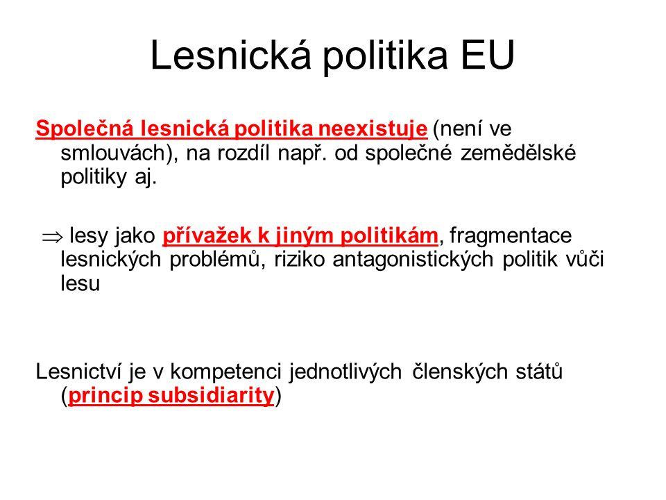 Lesnická politika EU Společná lesnická politika neexistuje (není ve smlouvách), na rozdíl např.