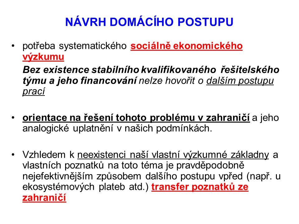 NÁVRH DOMÁCÍHO POSTUPU potřeba systematického sociálně ekonomického výzkumu Bez existence stabilního kvalifikovaného řešitelského týmu a jeho financov