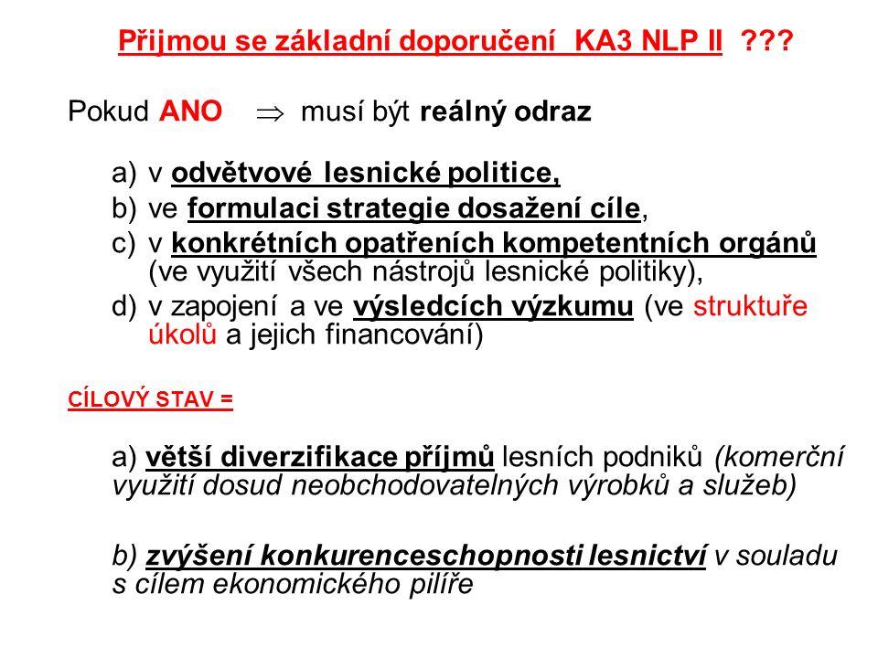 Přijmou se základní doporučení KA3 NLP II ??? Pokud ANO  musí být reálný odraz a)v odvětvové lesnické politice, b)ve formulaci strategie dosažení cíl