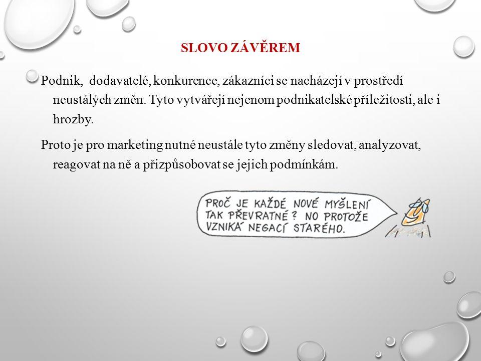 SLOVO ZÁVĚREM Podnik, dodavatelé, konkurence, zákazníci se nacházejí v prostředí neustálých změn.