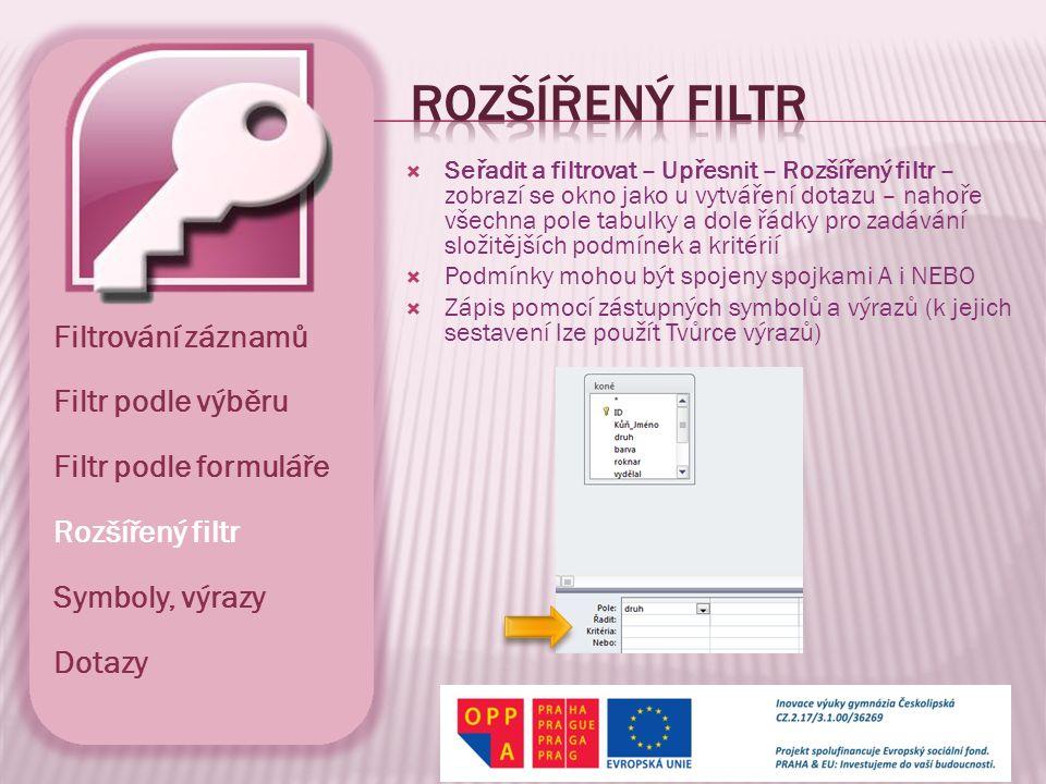  Seřadit a filtrovat – Upřesnit – Rozšířený filtr – zobrazí se okno jako u vytváření dotazu – nahoře všechna pole tabulky a dole řádky pro zadávání s