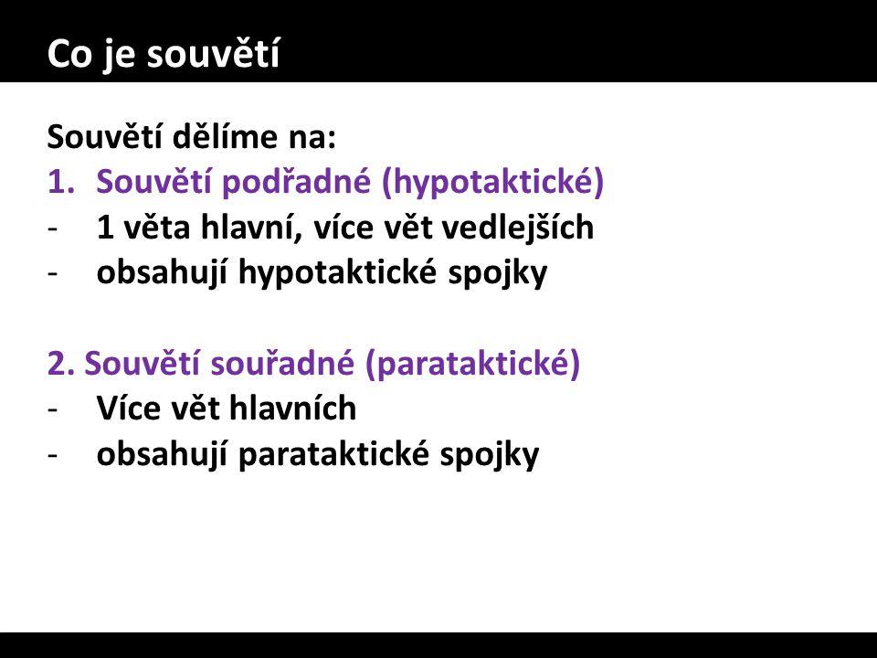 Co je souvětí Souvětí dělíme na: 1.Souvětí podřadné (hypotaktické) -1 věta hlavní, více vět vedlejších -obsahují hypotaktické spojky 2. Souvětí souřad