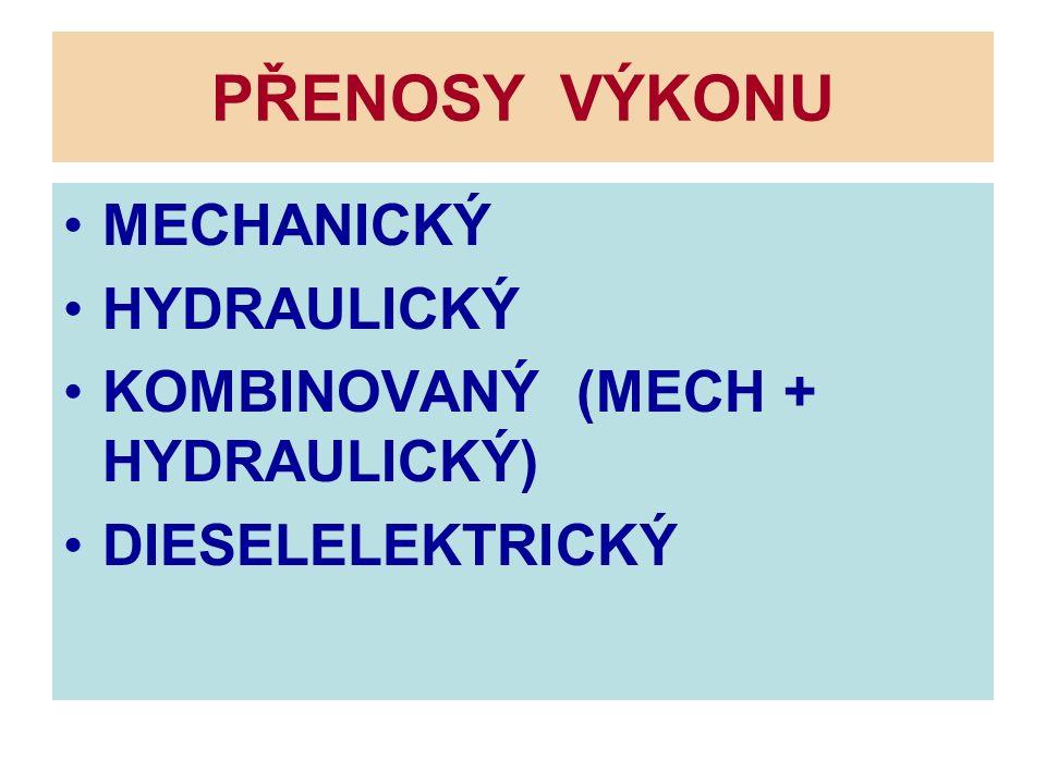 PŘENOSY VÝKONU MECHANICKÝ HYDRAULICKÝ KOMBINOVANÝ (MECH + HYDRAULICKÝ) DIESELELEKTRICKÝ