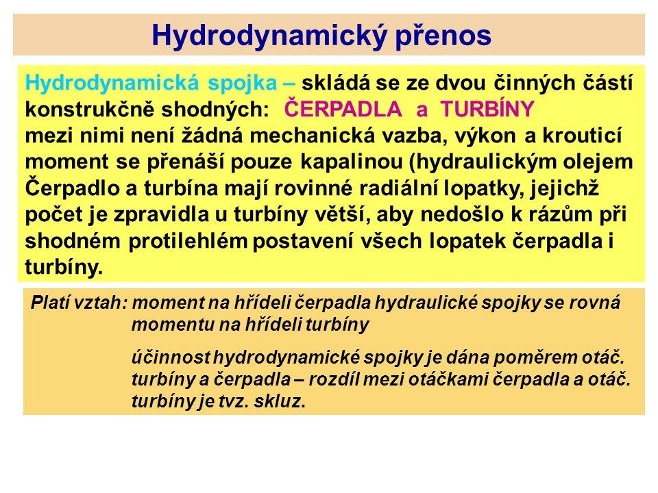 Hydrodynamický přenos Hydrodynamická spojka – skládá se ze dvou činných částí konstrukčně shodných: ČERPADLA a TURBÍNY mezi nimi není žádná mechanická