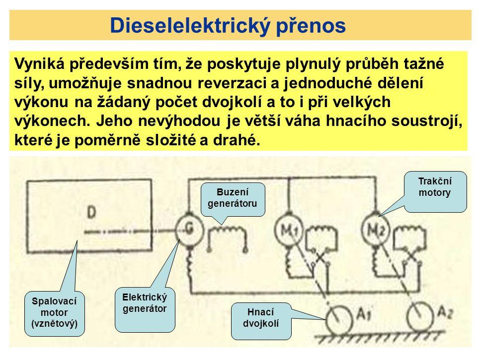 Dieselelektrický přenos Vyniká především tím, že poskytuje plynulý průběh tažné síly, umožňuje snadnou reverzaci a jednoduché dělení výkonu na žádaný