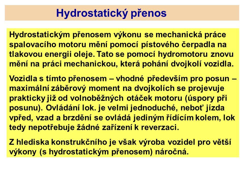 Hydrostatický přenos Hydrostatickým přenosem výkonu se mechanická práce spalovacího motoru mění pomocí pístového čerpadla na tlakovou energii oleje. T