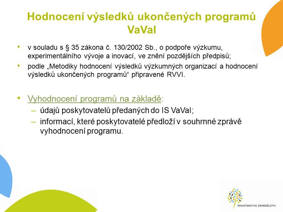 Hodnocení výsledků ukončených programů VaVaI v souladu s § 35 zákona č.