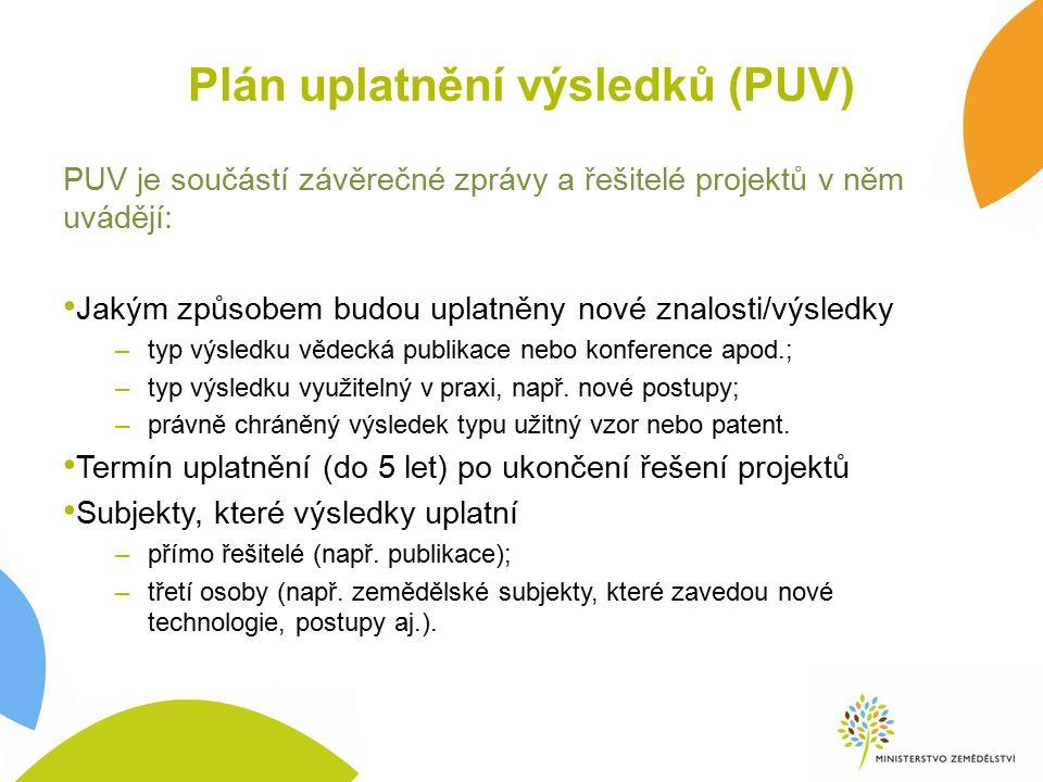 Plán uplatnění výsledků (PUV) PUV je součástí závěrečné zprávy a řešitelé projektů v něm uvádějí: Jakým způsobem budou uplatněny nové znalosti/výsledky –typ výsledku vědecká publikace nebo konference apod.; –typ výsledku využitelný v praxi, např.