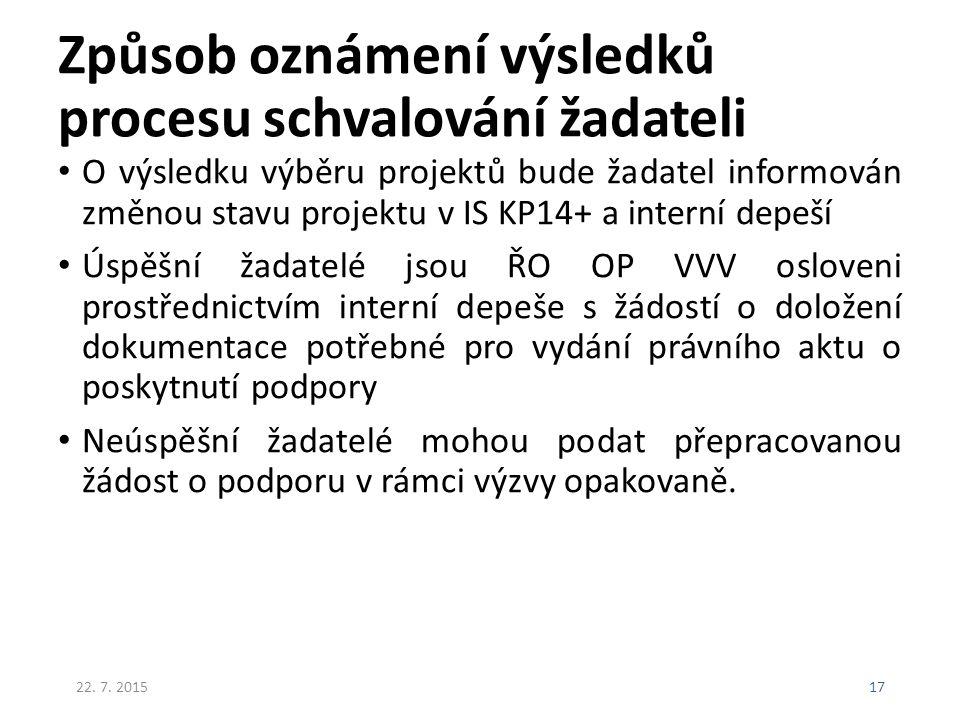 Způsob oznámení výsledků procesu schvalování žadateli O výsledku výběru projektů bude žadatel informován změnou stavu projektu v IS KP14+ a interní de