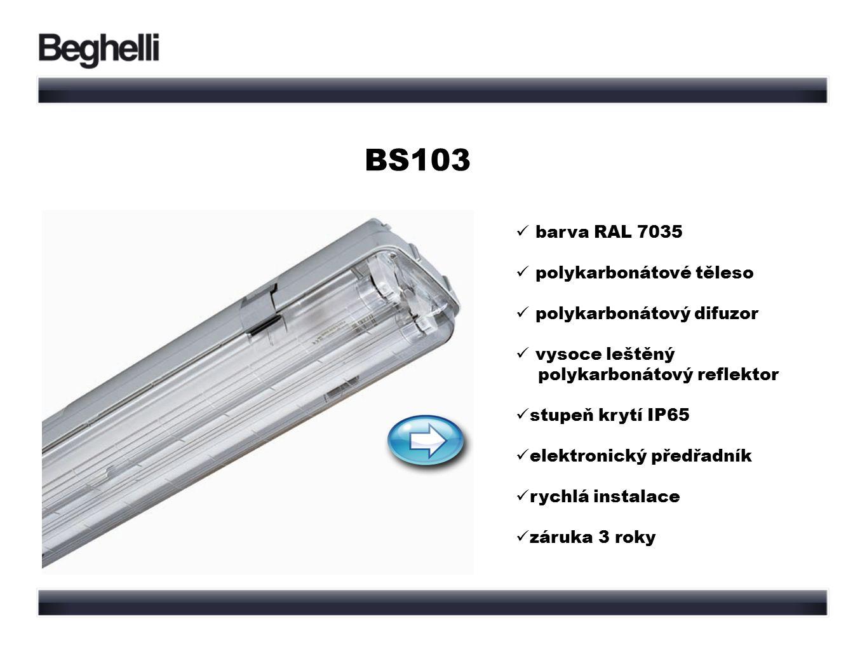 BS103 barva RAL 7035 polykarbonátové těleso polykarbonátový difuzor vysoce leštěný polykarbonátový reflektor stupeň krytí IP65 elektronický předřadník