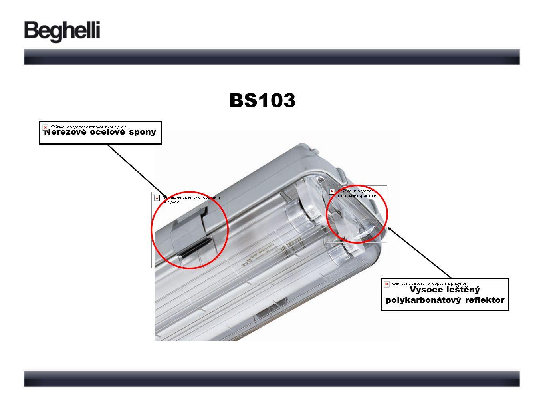 BS103 Nerezové ocelové spony Vysoce leštěný polykarbonátový reflektor