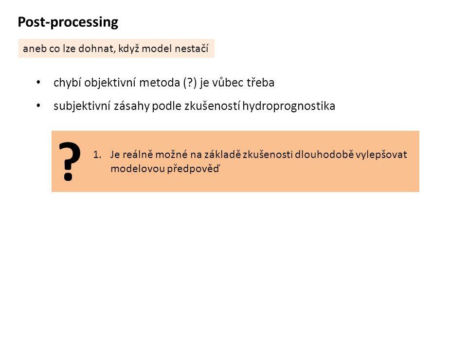 Post-processing aneb co lze dohnat, když model nestačí chybí objektivní metoda ( ) je vůbec třeba subjektivní zásahy podle zkušeností hydroprognostika 1.Je reálně možné na základě zkušenosti dlouhodobě vylepšovat modelovou předpověď