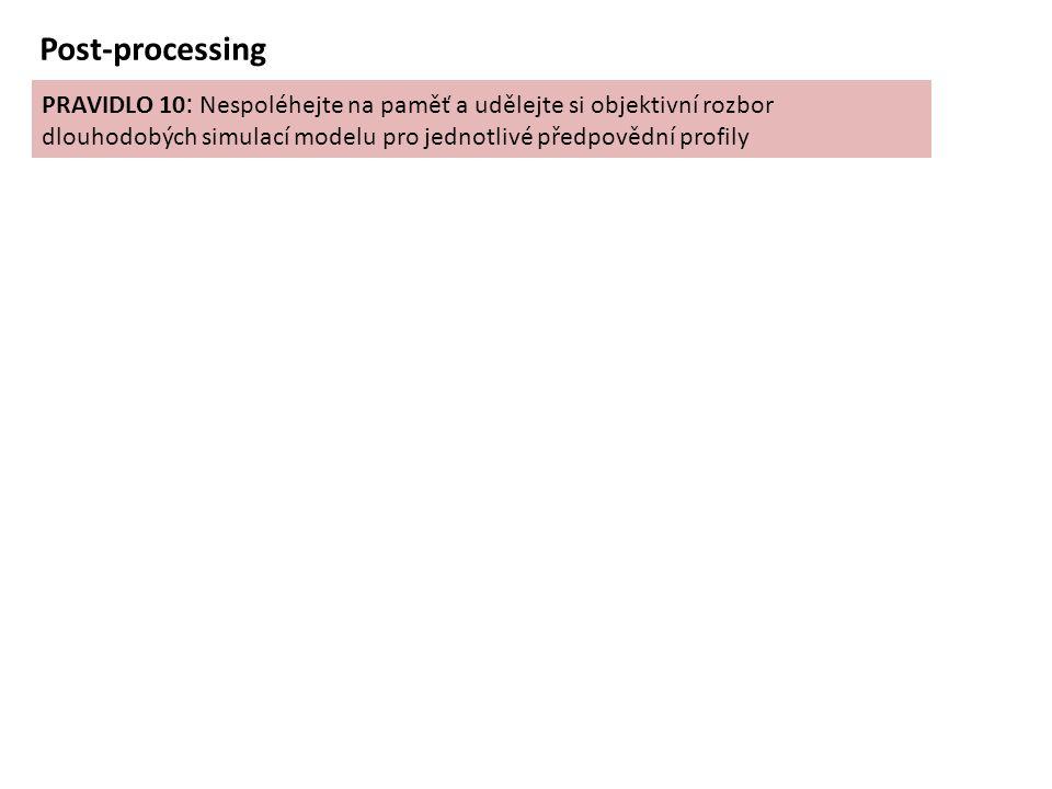 PRAVIDLO 10 : Nespoléhejte na paměť a udělejte si objektivní rozbor dlouhodobých simulací modelu pro jednotlivé předpovědní profily Post-processing