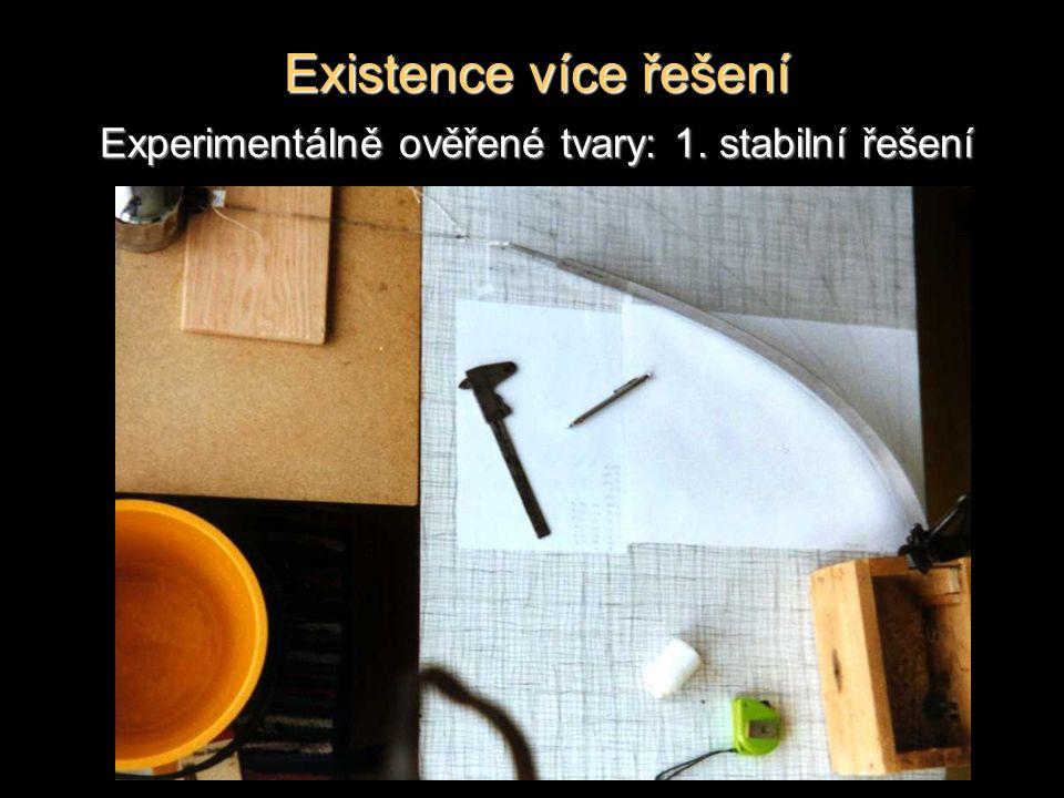 Existence více řešení Experimentálně ověřené tvary: 1. stabilní řešení