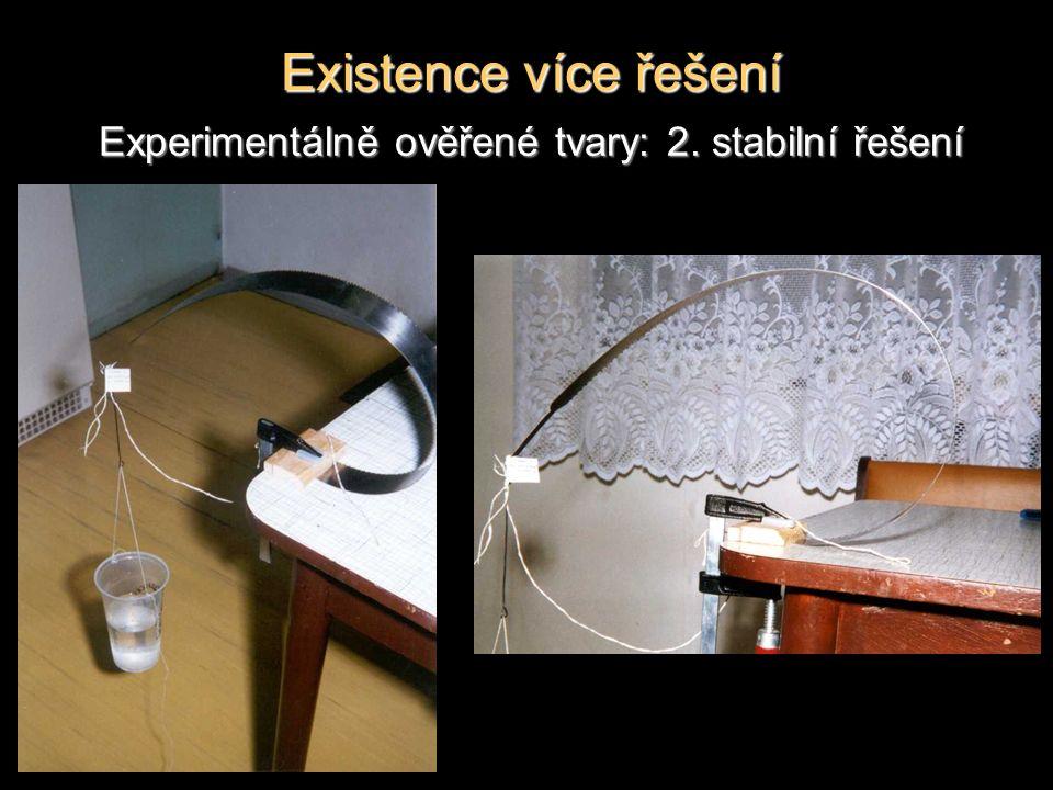 Existence více řešení Experimentálně ověřené tvary: 2. stabilní řešení