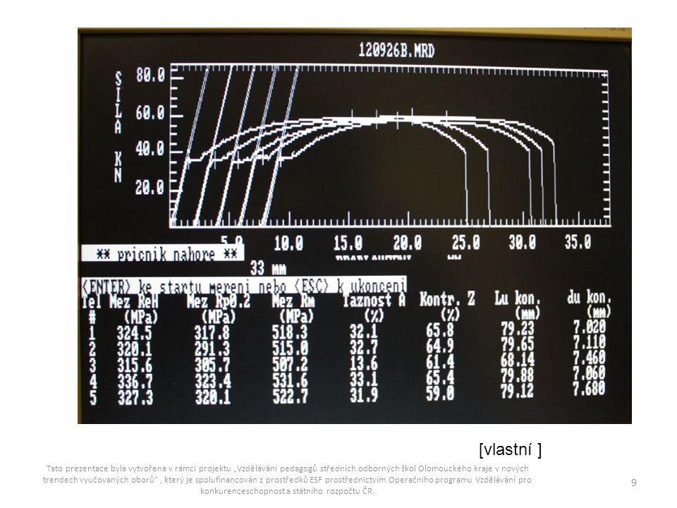 ZDROJE: [1] ČSN EN ISO 6892-1 – Kovové materiály-zkoušení tahem, část 1: zkušební metoda za pokojové teploty, UNMZ 2010 [2] ŠULC, Jan.
