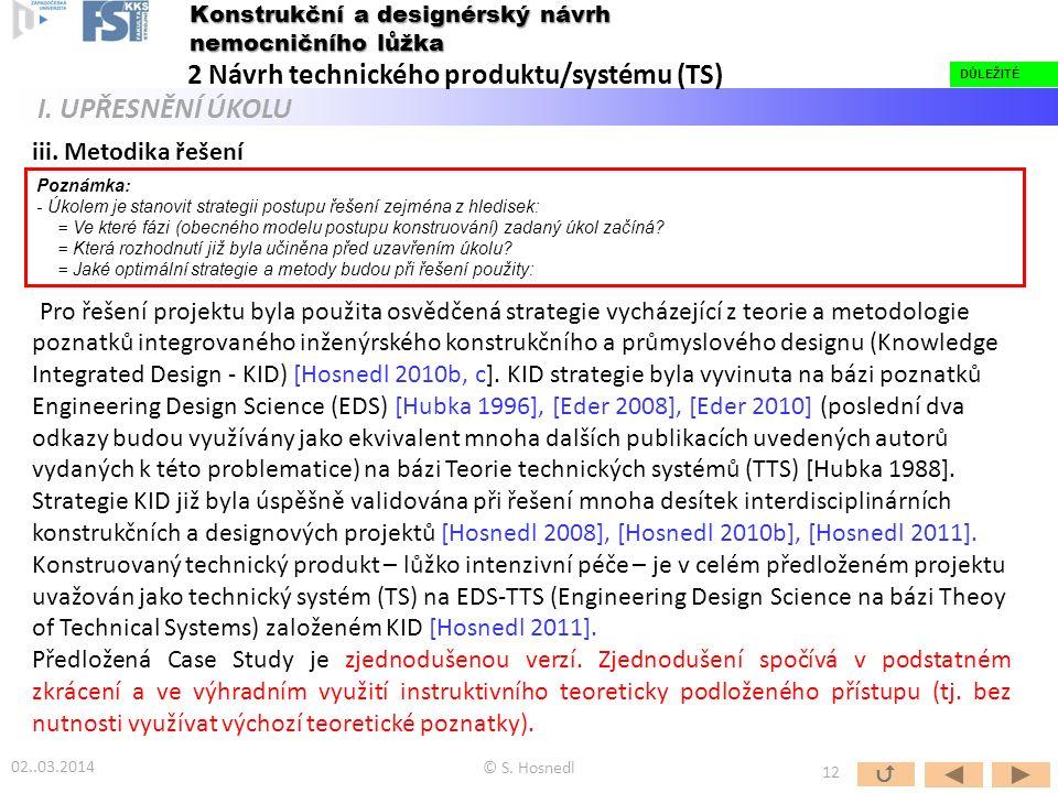 iii. Metodika řešení Pro řešení projektu byla použita osvědčená strategie vycházející z teorie a metodologie poznatků integrovaného inženýrského konst