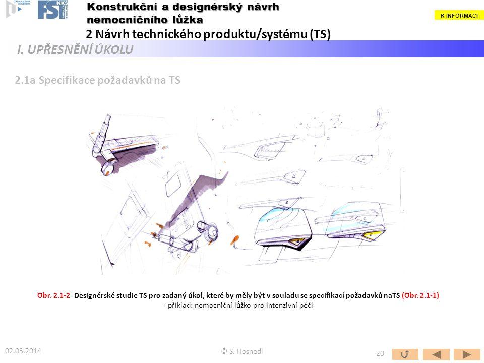 2.1a Specifikace požadavků na TS Obr. 2.1-2 Designérské studie TS pro zadaný úkol, které by měly být v souladu se specifikací požadavků naTS (Obr. 2.1
