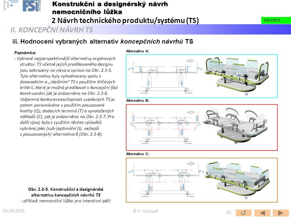 iii. Hodnocení vybraných alternativ koncepčních návrhů TS © S. Hosnedl DŮLEŽITÉ  26 DŮLEŽITÉ Konstrukční a designérský návrh nemocničního lůžka 2 Náv