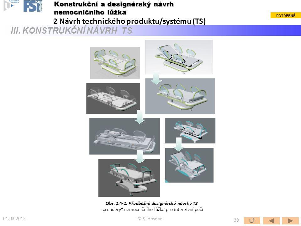 © S. Hosnedl  30 Konstrukční a designérský návrh nemocničního lůžka 2 Návrh technického produktu/systému (TS) III. KONSTRUKČNÍ NÁVRH TS Obr. 2.4-2. P