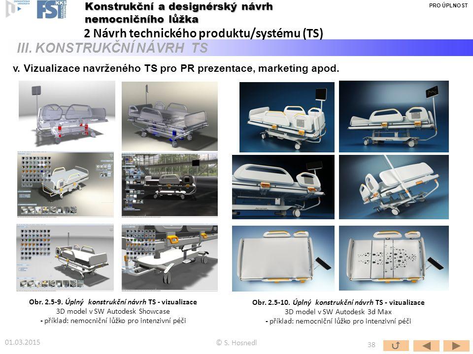 © S. Hosnedl  38 Konstrukční a designérský návrh nemocničního lůžka 2 Návrh technického produktu/systému (TS) III. KONSTRUKČNÍ NÁVRH TS v. Vizualizac