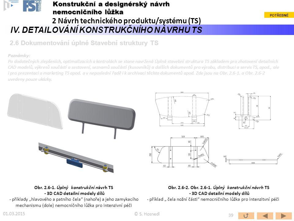 © S. Hosnedl  39 Konstrukční a designérský návrh nemocničního lůžka 2 Návrh technického produktu/systému (TS) IV. DETAILOVÁNÍ KONSTRUKČNÍHO NÁVRHU TS