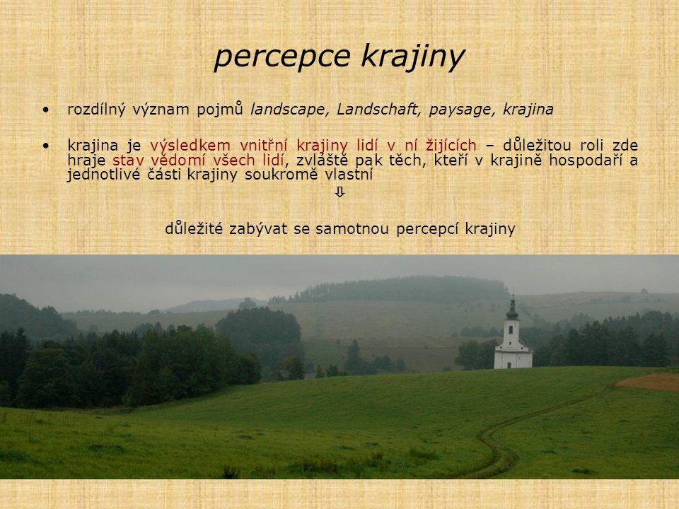 rozdílný význam pojmů landscape, Landschaft, paysage, krajina krajina je výsledkem vnitřní krajiny lidí v ní žijících – důležitou roli zde hraje stav
