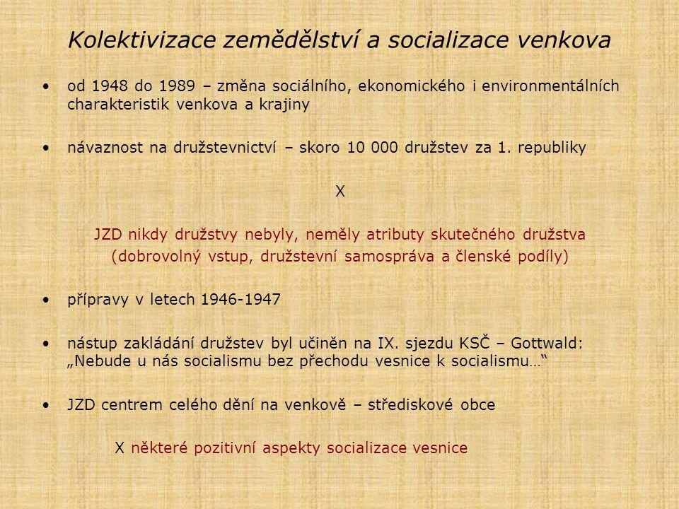 Kolektivizace zemědělství a socializace venkova od 1948 do 1989 – změna sociálního, ekonomického i environmentálních charakteristik venkova a krajiny návaznost na družstevnictví – skoro 10 000 družstev za 1.