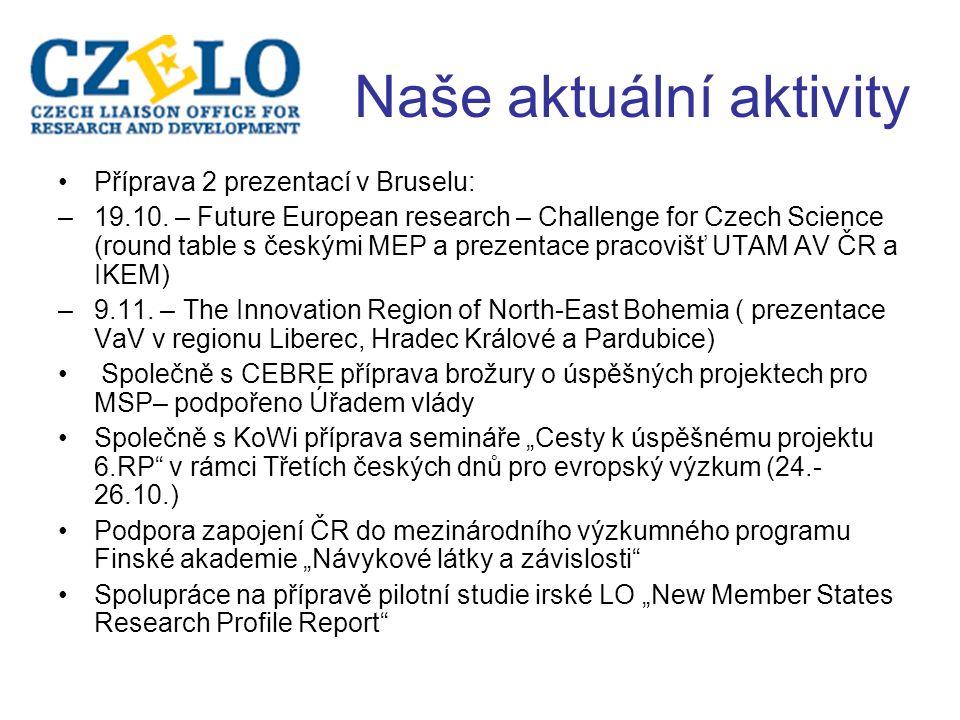 Naše aktuální aktivity Příprava 2 prezentací v Bruselu: –19.10.