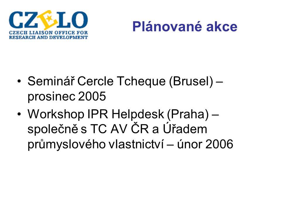Plánované akce Seminář Cercle Tcheque (Brusel) – prosinec 2005 Workshop IPR Helpdesk (Praha) – společně s TC AV ČR a Úřadem průmyslového vlastnictví – únor 2006