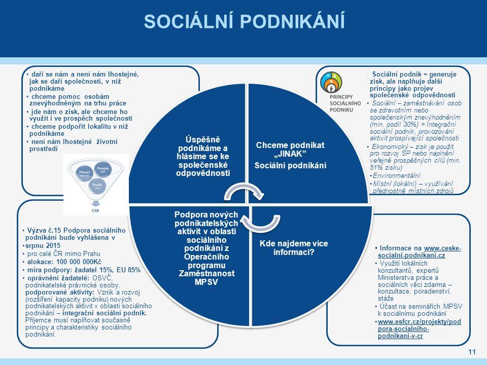 SOCIÁLNÍ PODNIKÁNÍ Informace na www.ceske- socialni-podnikani.czwww.ceske- socialni-podnikani.cz Využití lokálních konzultantů, expertů Ministerstva p