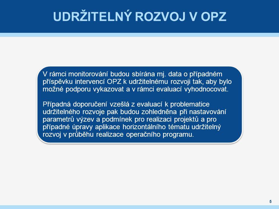 UDRŽITELNÝ ROZVOJ V OPZ 5 V rámci monitorování budou sbírána mj. data o případném příspěvku intervencí OPZ k udržitelnému rozvoji tak, aby bylo možné