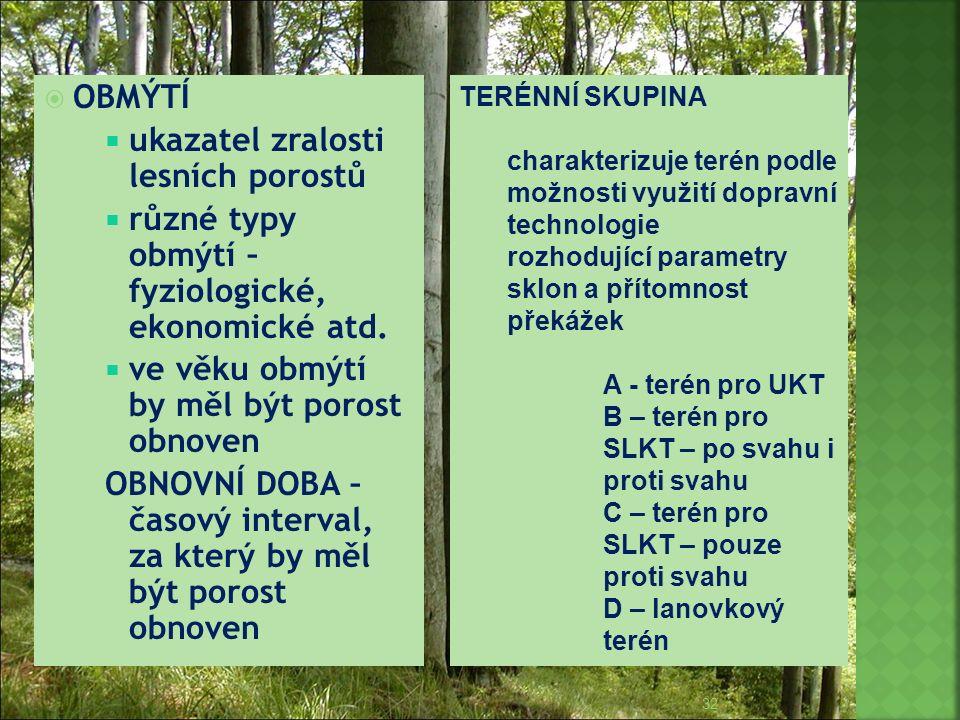  OBMÝTÍ  ukazatel zralosti lesních porostů  různé typy obmýtí – fyziologické, ekonomické atd.  ve věku obmýtí by měl být porost obnoven OBNOVNÍ DO