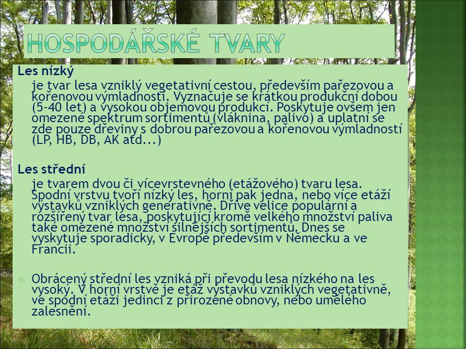 Les nízký je tvar lesa vzniklý vegetativní cestou, především pařezovou a kořenovou výmladností. Vyznačuje se krátkou produkční dobou (5-40 let) a vyso