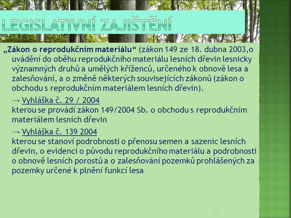 """""""Zákon o reprodukčním materiálu"""" (zákon 149 ze 18. dubna 2003,o uvádění do oběhu reprodukčního materiálu lesních dřevin lesnicky významných druhů a um"""