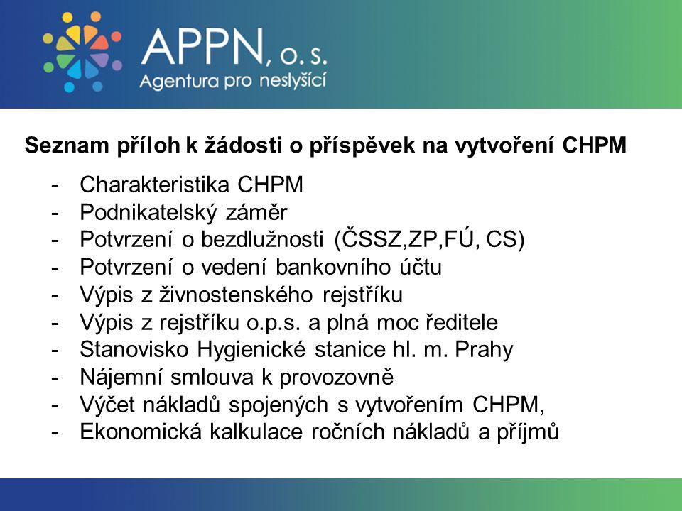 Seznam příloh k žádosti o příspěvek na vytvoření CHPM -Charakteristika CHPM -Podnikatelský záměr -Potvrzení o bezdlužnosti (ČSSZ,ZP,FÚ, CS) -Potvrzení